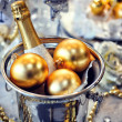 Christmas table setting with champagne — Stock Photo #37146837