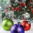 Colorful Christmas baubles — Stok fotoğraf
