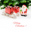 Santa Claus with Christmas gifts — Stock Photo