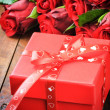 Valentine's gift box with roses — Stock Photo