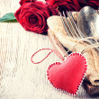 Rustic table setting for St Valentine's dinner — Stock Photo