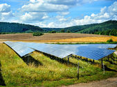 Landscape with solar energy field — Stock Photo