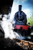 Historical steam engine train in motion — Stock Photo