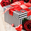 St Valentine's setting with roses — Stock Photo