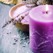 Wellness concept with lavender and scented candle — Stock Photo