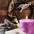 Stock Photo: Fresh lavender flowers and scented candle
