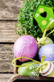Easter setting with decorative eggs — Stock Photo