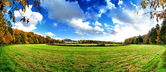 Panoramic autumn landscape with abandoned hippodrome — Stock Photo