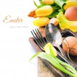 Easter table setting with yellow tulips — Stock Photo #41543097