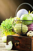 Easter setting with colorful decorative eggs — Stock Photo