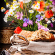 Country breakfast with fresh bread — Stock Photo