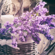 Bunch of fresh lavender in basket — Stock Photo #42946221