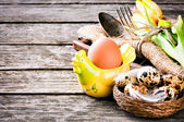 Easter  table setting with quail eggs — Stock Photo