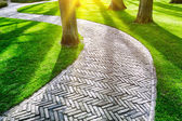 Paved footpath in spring park — Stock Photo
