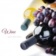 Bottles of wine with fresh grape — Stock Photo #44323011