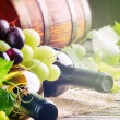 Bottles of red and white wine with fresh grape — Stock Photo #44323017