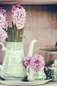 Retro setting with pink hyacinths — Stock Photo