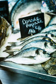 Fresh sea bream at fish market — Stock Photo