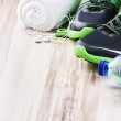 Sport shoes and fitness accessories — Stock Photo #47020549