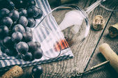 Retro setting with wine glass and grapes — Stock Photo