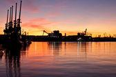 Sunset in Gdynia Shipyard — Stock Photo