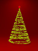New year tree on red background — Stock Photo