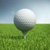 Golf ball on green grass field — Stock Photo