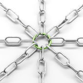 Metal chain with green ring — Stock Photo