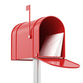 Red red mailbox with mails — Stock Photo