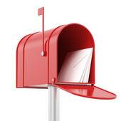 Buzón rojo rojo con correos — Foto de Stock