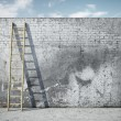 Stock Photo: Ladder on wall in front of sky