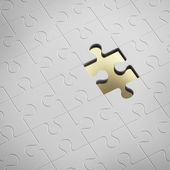 Empty golden piece of white puzzle — Stock Photo
