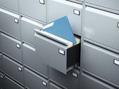 File cabinet with blue document — Stock Photo