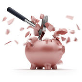Broken Piggy Bank with hammer — Stock Photo
