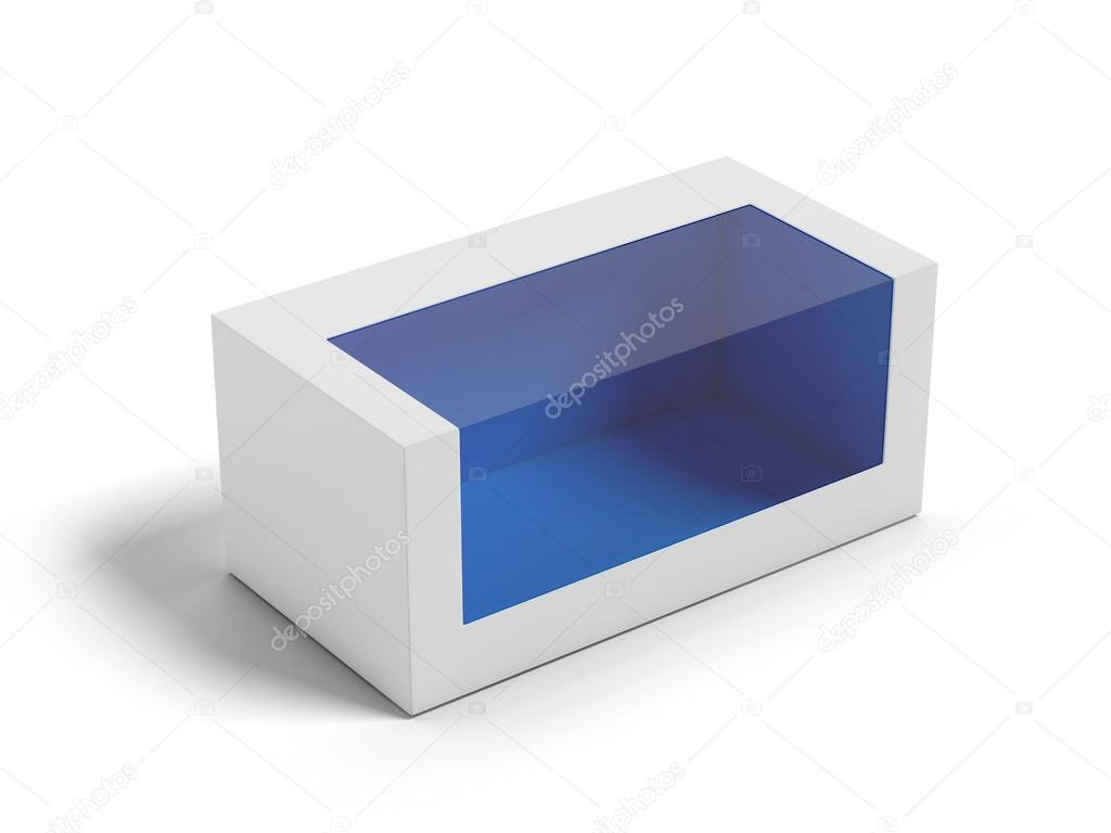 Cardboard Box with a transparent plastic window isolated on white background — Stock Photo #16250129