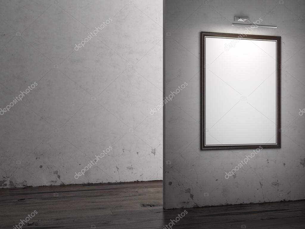Gallery Interior with empty frame on wall and lights  — Stock Photo #16871547
