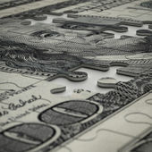 3d puzzle of dollar — Stock Photo