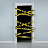 Door with caution tape — Stock Photo