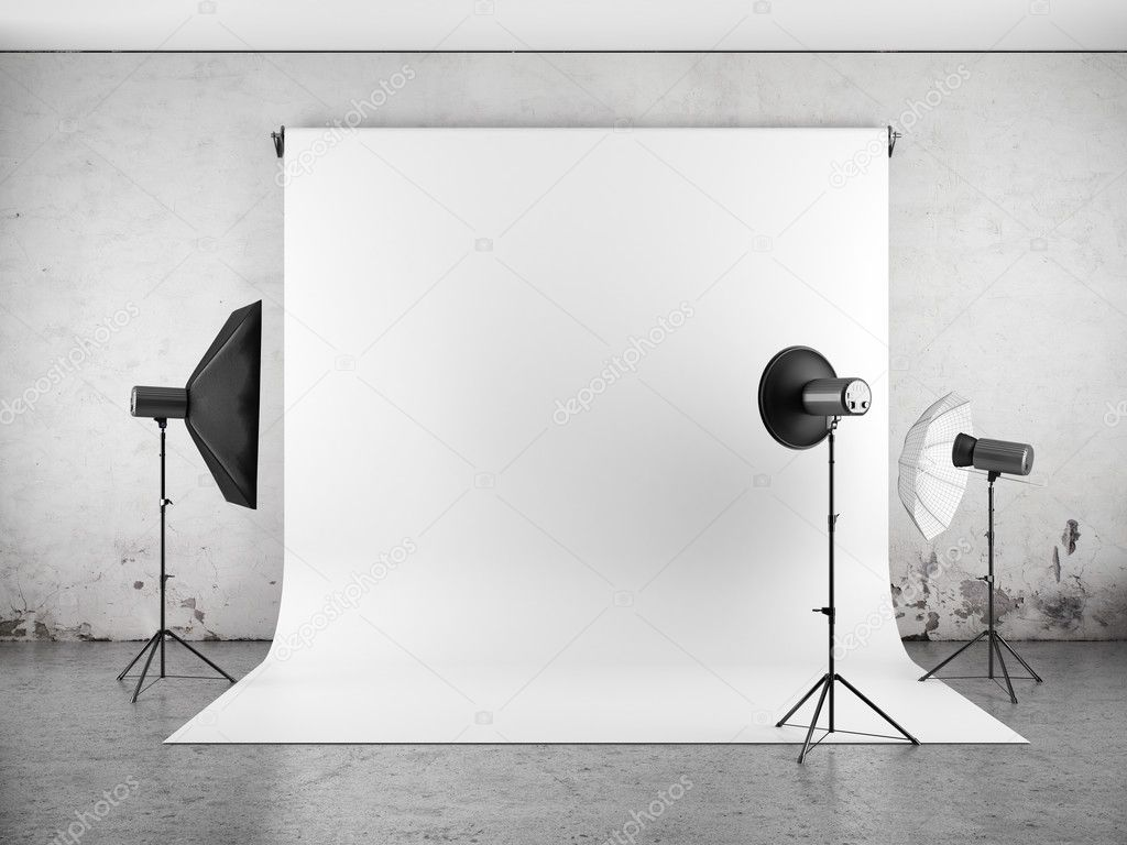 Empty photo studio with lighting equipment — Stock Photo © Evgeny