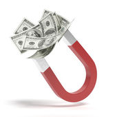 Magnet with dollar banknotes — Stock Photo