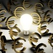 A lot of euro symbols in the dark — Stock Photo