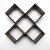Four Box shelves on white wall — Stock Photo