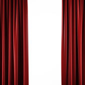 Red curtains on white — Stock Photo