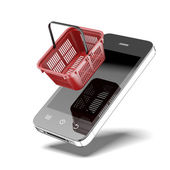 Smartphone with shopping basket — Stock Photo