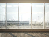 View of city from wide window — Stock Photo