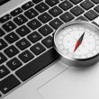 Stock Photo: Laptop and retro compass