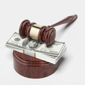 Gavel and money stack — Stock Photo