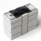 Car under the tissue on the stack of dollars — Stock Photo