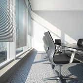 Interior with blinds and office table — Stock Photo