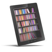 Tableta con estantería — Foto de Stock